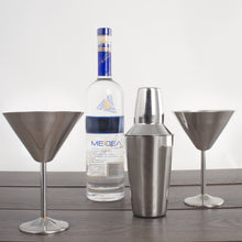 Load image into Gallery viewer, Stainless Steel Martini Gift Set - 2 Large Martini Glasses and Shaker Set