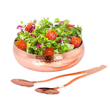 Load image into Gallery viewer, Copper Hammered Stainless Steel Salad Bowl With Serving Spoon Set