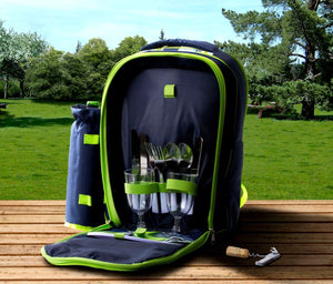 Insulated Picnic Cooler Backpack Set Bag Basket With 2 Person Accessories