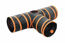 Load image into Gallery viewer, Fun Pet Cat Tunnel – 3 Way Cat Tunnel - Orange Cat Crinkle Tunnel
