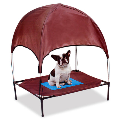 Relaxing Pet Dog Cot Cool Cooling Gel Elevated Bed With Removable Canopy