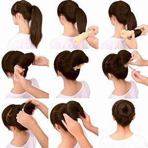 2 Pack Small Hot Buns Hair Elegant Magic Style Bun Maker Brown
