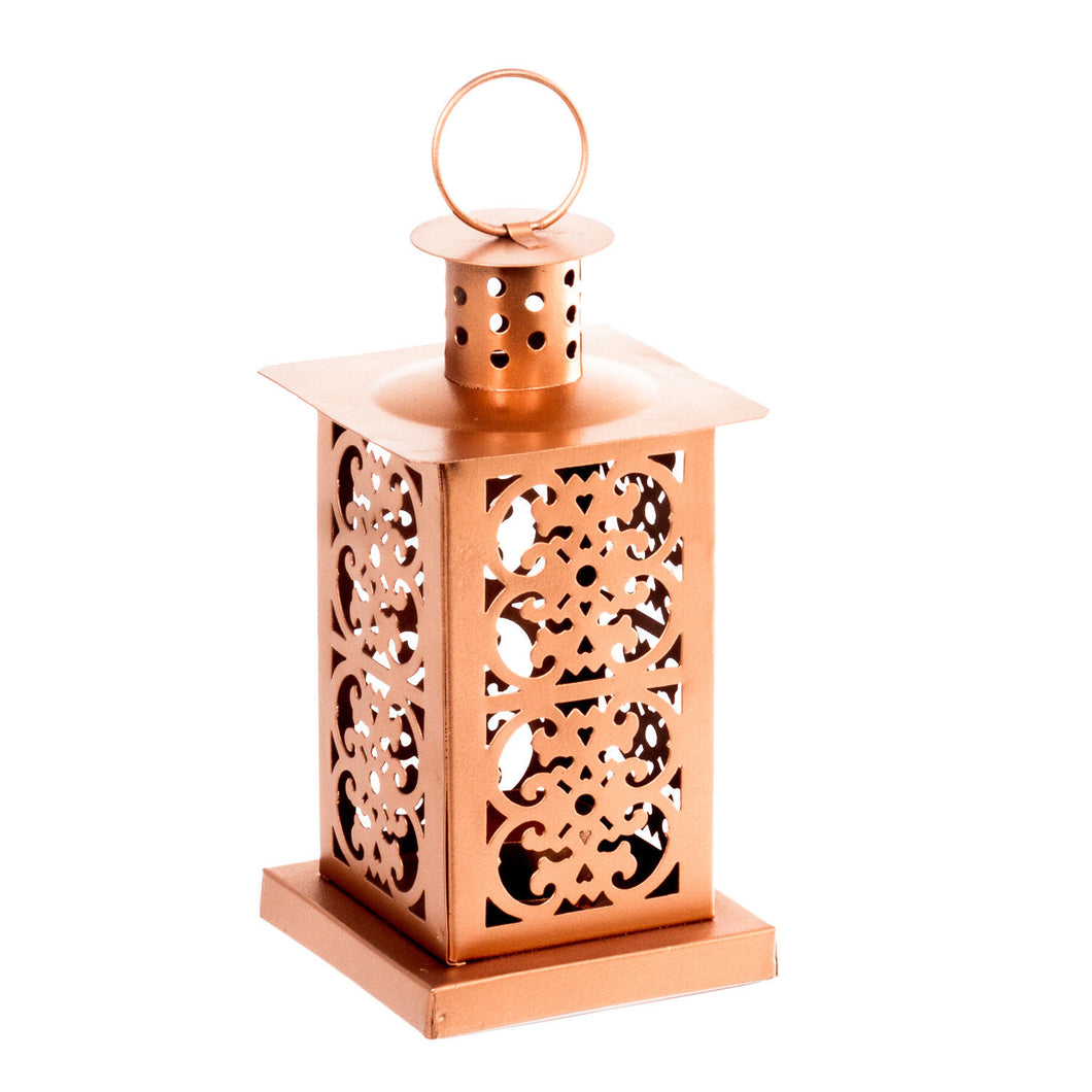 Metal Copper Moroccan Lantern Candle Holder - Tea Light Candle Holder