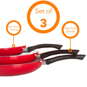 "Healthy Nonstick Ceramic Coated Frying Pan - 3 Pcs Eco Friendly Durable Fry Pan Cookware Set (8"", 10"" & 12"" Pans)"