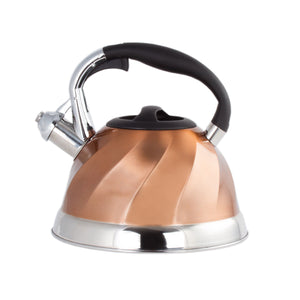 Copper Stainless Steel Whistling Tea Kettle - Tea Maker Pot 3 Quarts 2.8 L.
