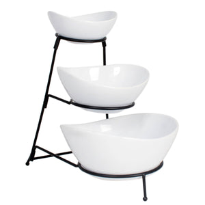 Ceramic 3 Tier Serving Bowls - Oval Serving Bowl With Stand