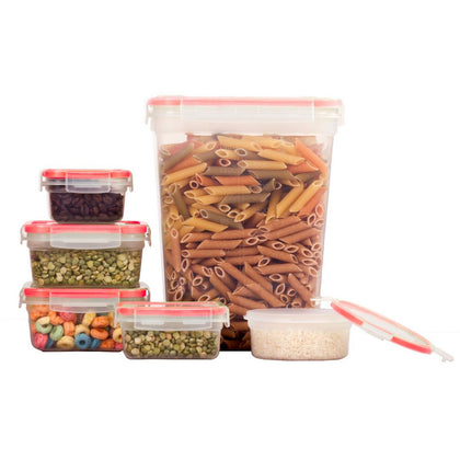 10 Pcs Plastic Food Storage Containers Set With Air Tight Locking Lids