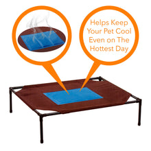 Load image into Gallery viewer, Relaxing Pet Dog Cot Cool Cooling Gel Elevated Bed With Removable Canopy