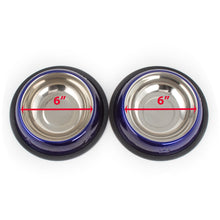 Load image into Gallery viewer, 2 Pack Stainless Steel Dark Blue 16 Oz. Pet Bowl - Dog Cat Food Bowls
