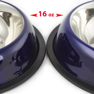 2 Pack Stainless Steel Dark Blue 16 Oz. Pet Bowl - Dog Cat Food Bowls