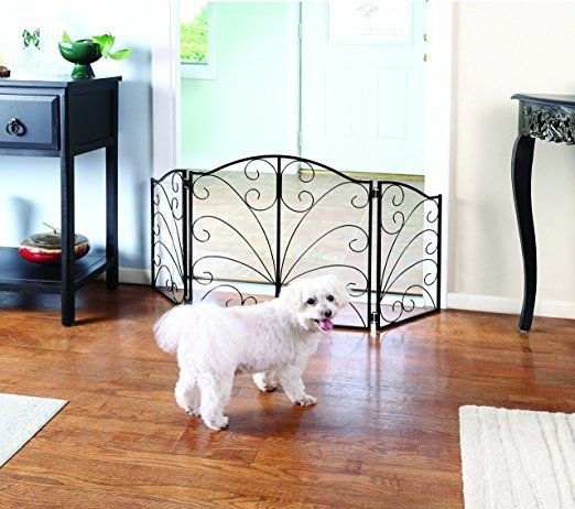 "48"" Freestanding Pet Gate - Fireplace Screen Design Metal Dog Gates Indoor Fence"