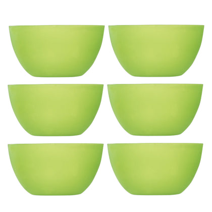 6 Pc Green Plastic Bowls - Reusable BPA -Free Cereal Fruit or Soup Bowl