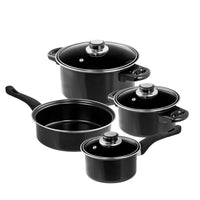 Professional Quality Nonstick Carbon Steel 7 pcs. Cookware Set - Black