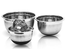 Load image into Gallery viewer, Stainless Steel Mixing Bowl Set W/ Silicone Bottoms 4 Pieces Nested Bowl Set