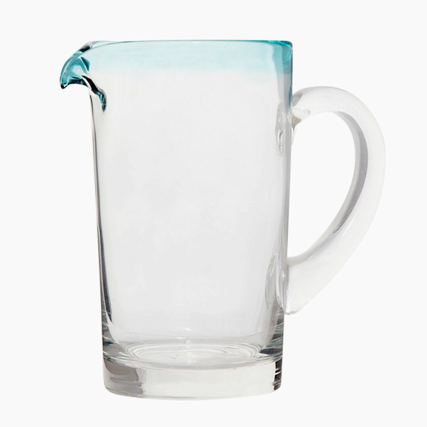 Mexican Glass 37 Oz. Pitcher - Margarita Pitcher Blue Rim Water Lemonade Pitcher