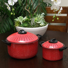 Load image into Gallery viewer, Set of 2 High Quality Pasta Pot w/ Strainer Lid - Pasta Cooker Stock Pot