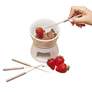 Ceramic Chocolate Fondue Set Fondue Pot & Cheese Fondue Dippers