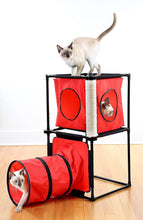 Load image into Gallery viewer, Kitty Condo with Tunnel & Scratching Post - Cat Playing Tunnel & Scrathing Post