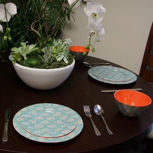 Studio California Solina 12 Piece Melamine Dinnerware Set, Aqua