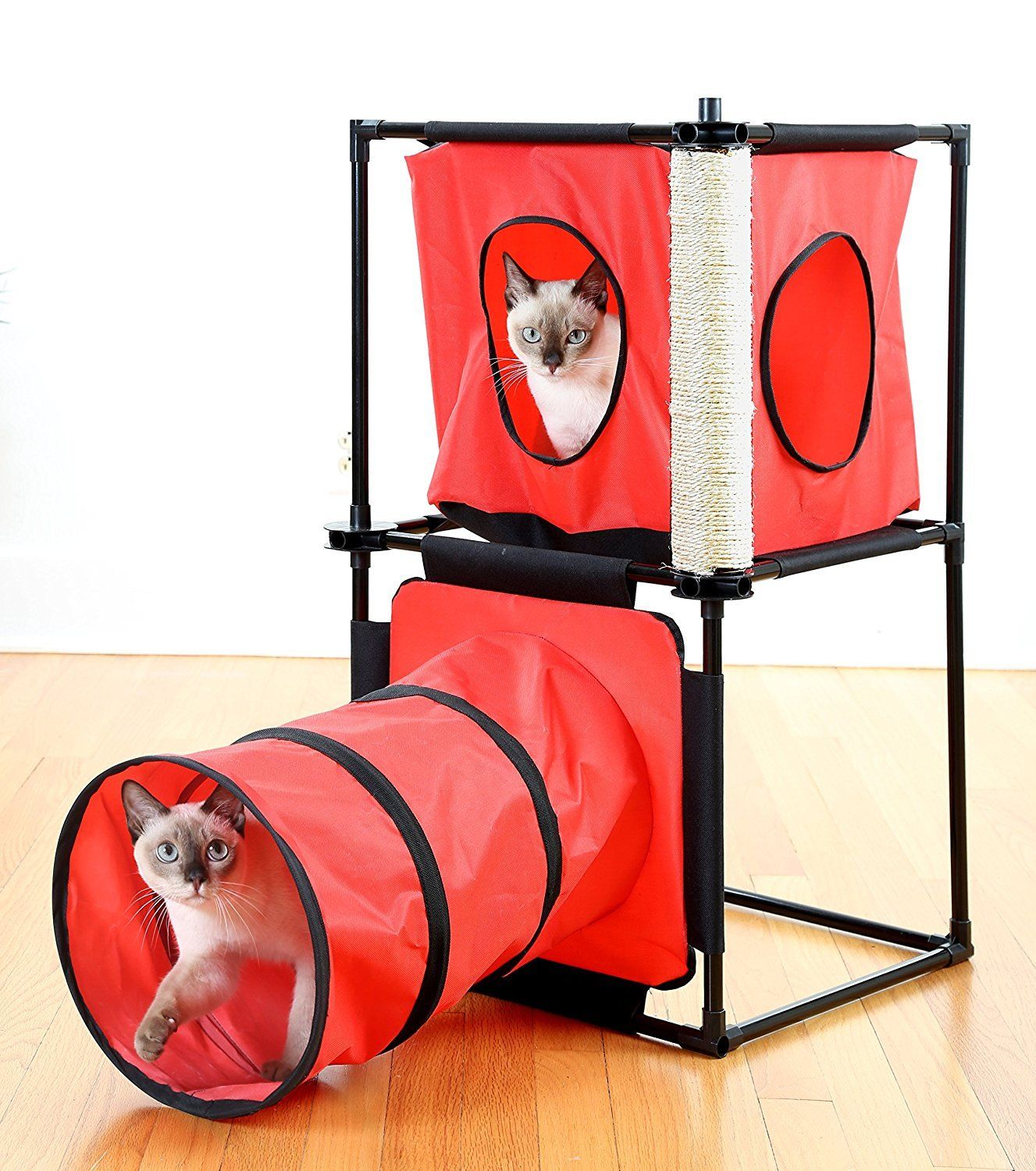 Kitty Condo with Tunnel & Scratching Post - Cat Playing Tunnel & Scrathing Post