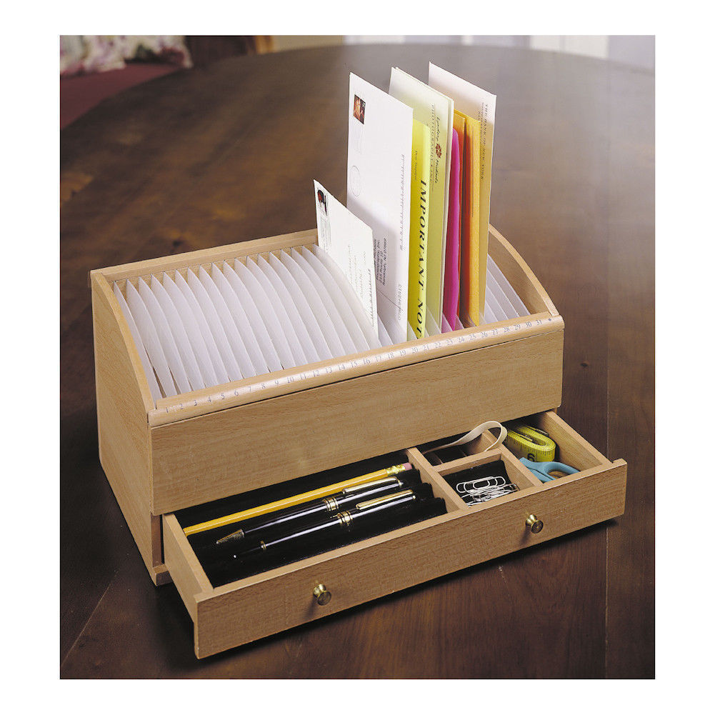 Wood Mail Bill Letter Organizer Caddy Holder W/ Drawer Wooden Personal Secretary