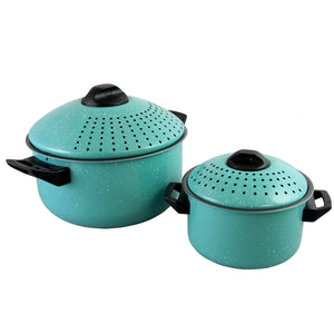 Set of 2 High Quality Pasta Pot w/ Strainer Lid - Pasta Cooker Stock Pot