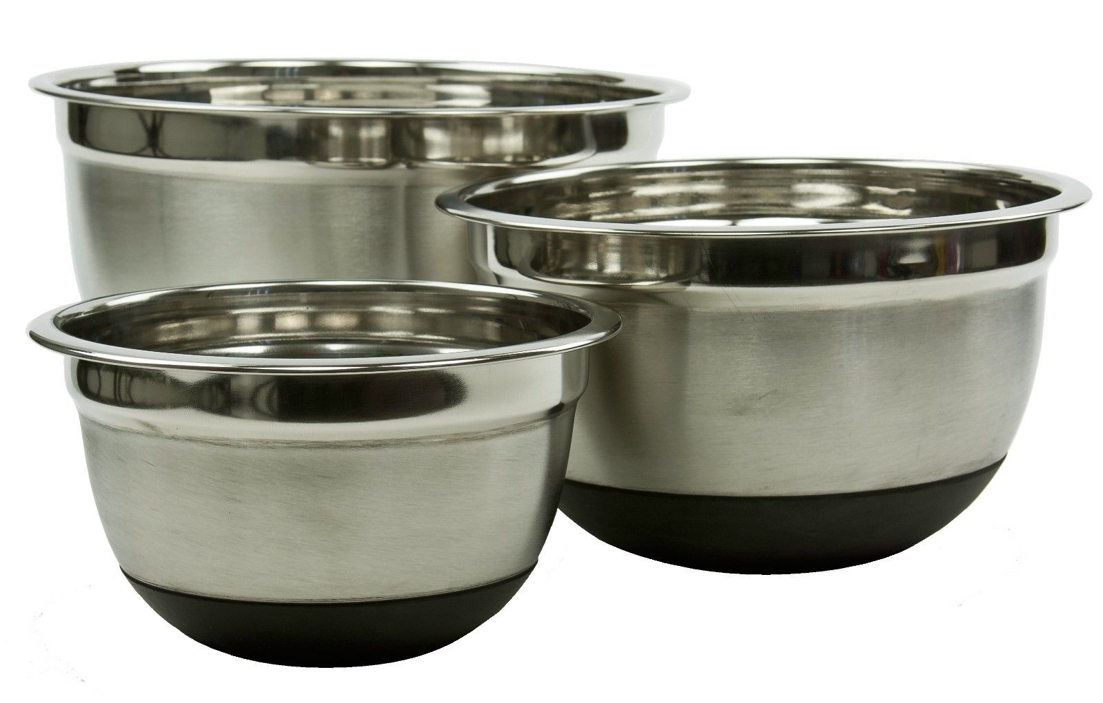 Stainless Steel Mixing Bowl Set W/ Silicone Bottoms 4 Pieces Nested Bowl Set