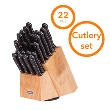 Load image into Gallery viewer, Oster 112070.22 Evansville 22 Piece Cutlery Set, Stainless Steel with Black Handles