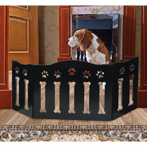 Solid Wood Folding Dog Pet Gate - Wooden Pet Gates Black