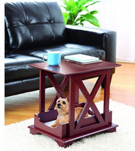 "Load image into Gallery viewer, Wood End Table Built in Medium Dog Pet Bed - Removable Cushion 21 1/4"" X 15 3/4"""
