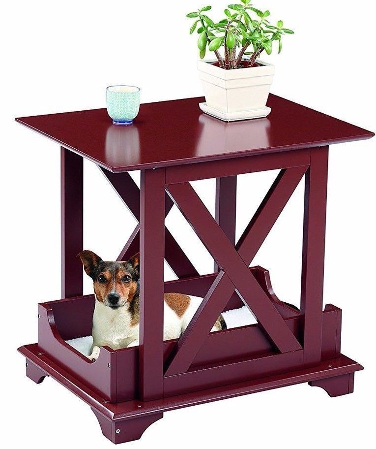"Wood End Table Built in Medium Dog Pet Bed - Removable Cushion 21 1/4"" X 15 3/4"""