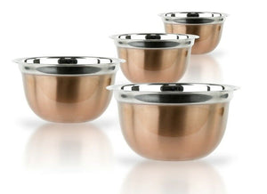 Stainless Steel Euro Mixing Bowl Set - 4 Nested Deep Kitchen German Mixing Bowls
