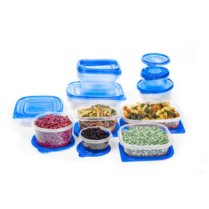 34 Piece Plastic Food Container Set - 17 Plastic Storage Containers with Air Tight Lids