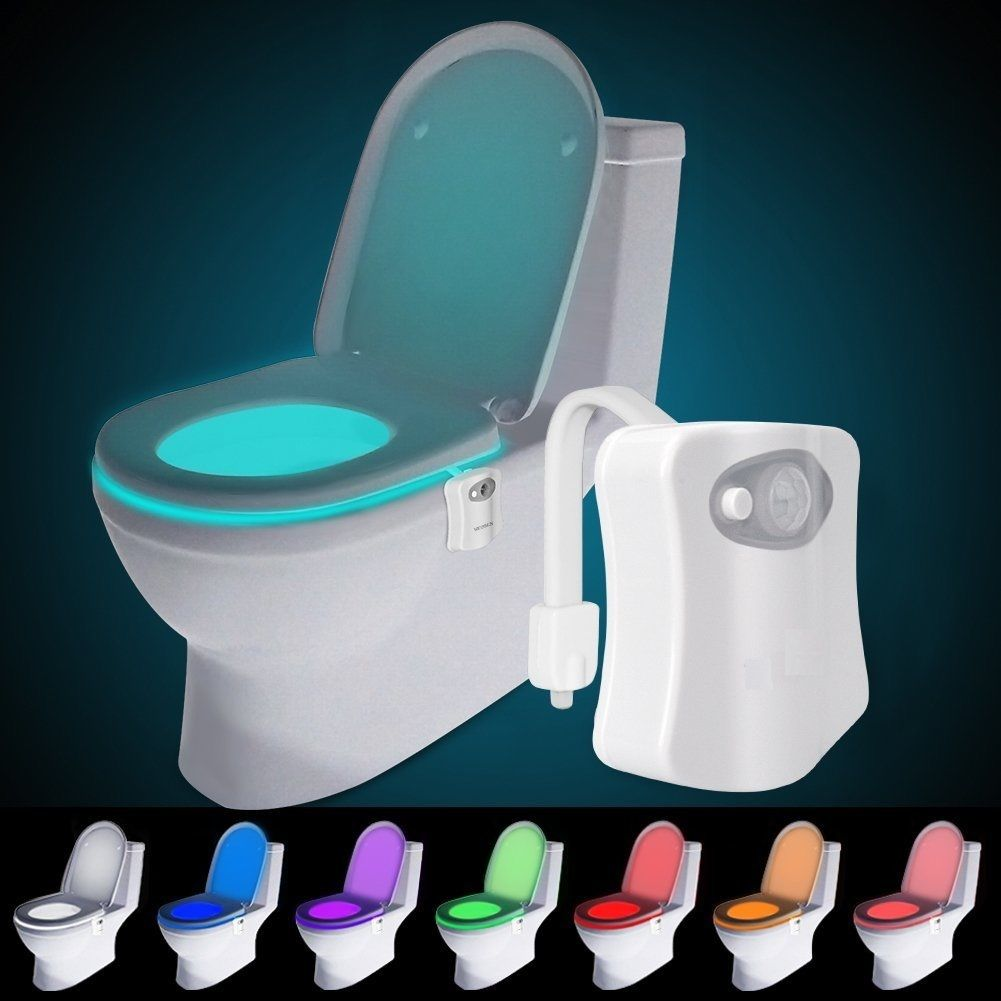Motion Activated Toilet Bowl Led Light 8 Changing Color Toilet Seat Nightlight