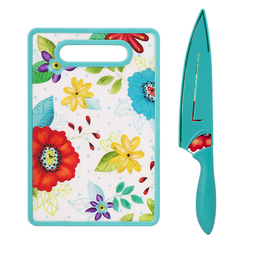 Ceramic Stainless Steel Chef Knife W/ Shealth & Cutting Board Set Floral Design