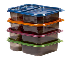 Load image into Gallery viewer, 8 Pc Meal Containers Adult Lunch Boxes - 3 Compartment Lunch Containers (Multi Color Lids) - Microwave Safe Containers