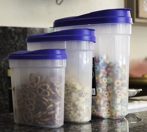 Plastic Cereal Dispenser Set - 3 Pcs Dry Food Snack Nut Storage Containers Blue
