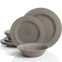 Load image into Gallery viewer, Gibson Studio 114334.12 Mauna 12 Piece Heavy Weight Melamine Dinnerware Set Gray