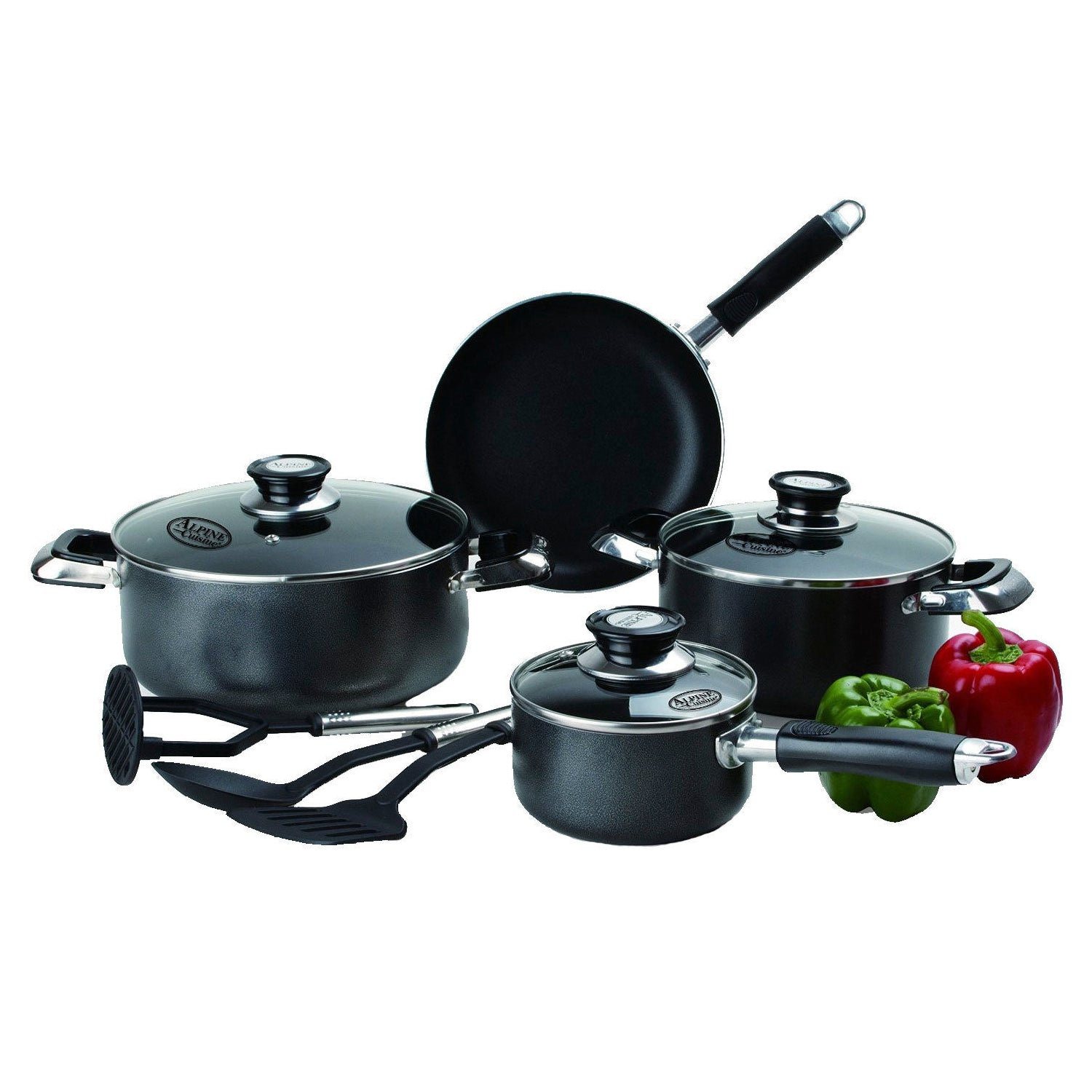 Imperial Home Nonstick Cookware Sets - 10 Pc Black Pots and Pans Set PTFE and PFOA Safe Pots Pans Set