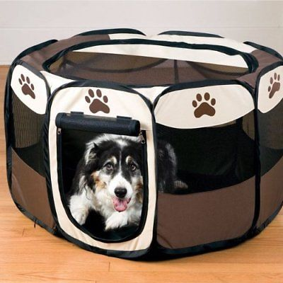 Portable Large Dog Pen – Outdoor & Indoor Puppy Pen – Paw Print Dog Playpen