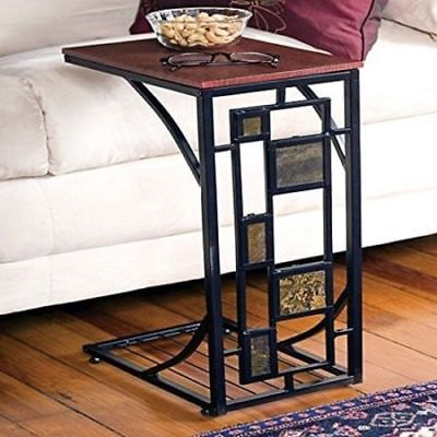 Burnished Sofa Side Table - Tray Table Stand w/ Square Design