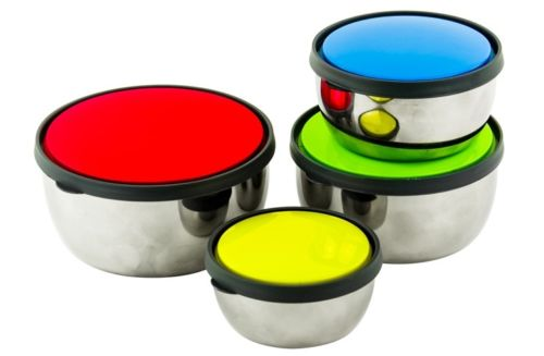 8 Pcs. Stainless steel Mixing Bowl - Food storage Container Set W/Colorful Lid