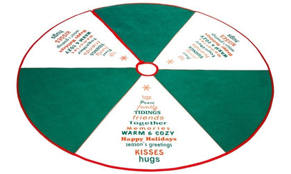 Holiday Christmas Tree Skirts with Green Season Greetings Design