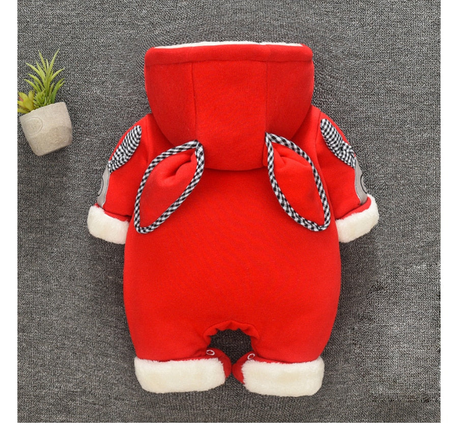 Adorable Baby Thick Hooded Jumpsuit