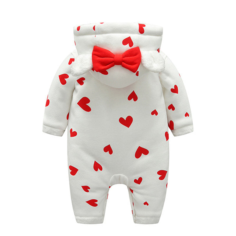 Cute Baby Girl Hearts Plush Winter Jumpsuit
