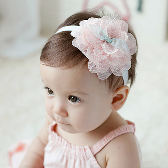 Baby Girl White, Green, or Pink Flower Headband