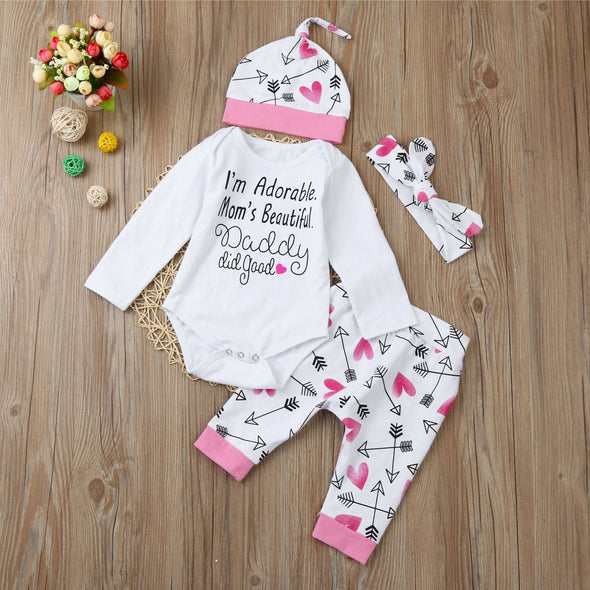 """Daddy Did Good"" 4-Piece Baby Girl Outfit"