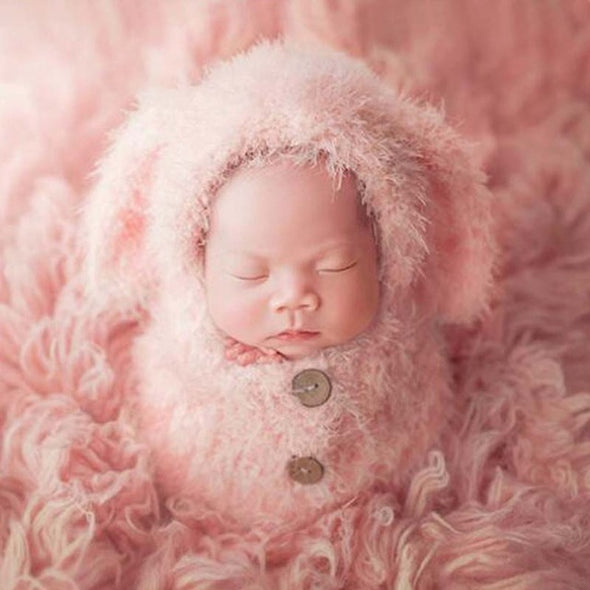 Infant Fuzzy Pink or White Baby Bunny Photo Prop