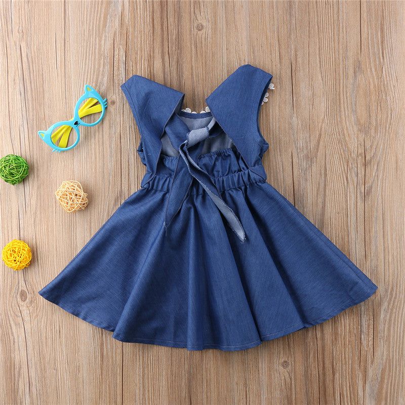 Toddler Girls Sleveless Denim Bow Dress