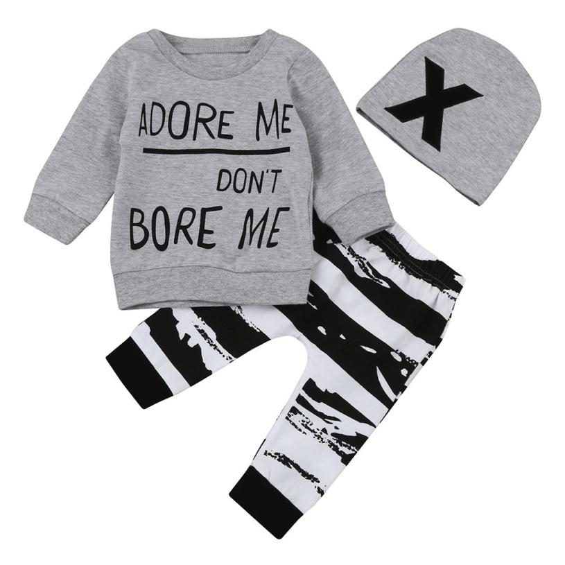 """Adore Me, Don't Bore Me"" 3-Piece Baby, Toddler Outfit and Hat"